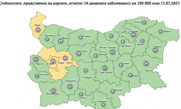 Три области- София, София област и Видин в жълтата зона за разпространение на COVID-19